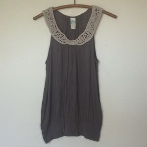 Anthropologie C. KEER Balcony Taupe Tank Top S